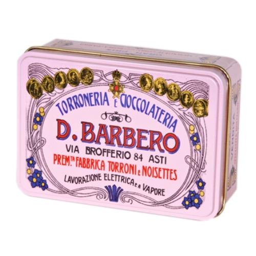 Torroncini friabili Nocciole Mürber, fester Torrone mit handverlesenen I.G.P. Haselnüssen. Einzeln verpackt in nostalgischer Metallschachtel.
