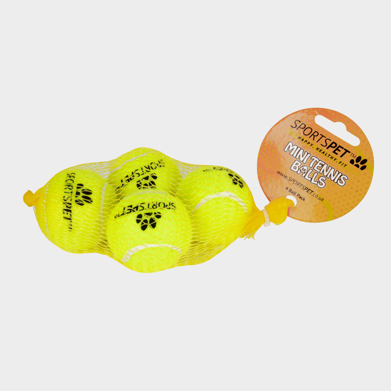Set van 4 tennisballen Puppy in een net 48 mm Ø zonder piepers van SPORTSPET