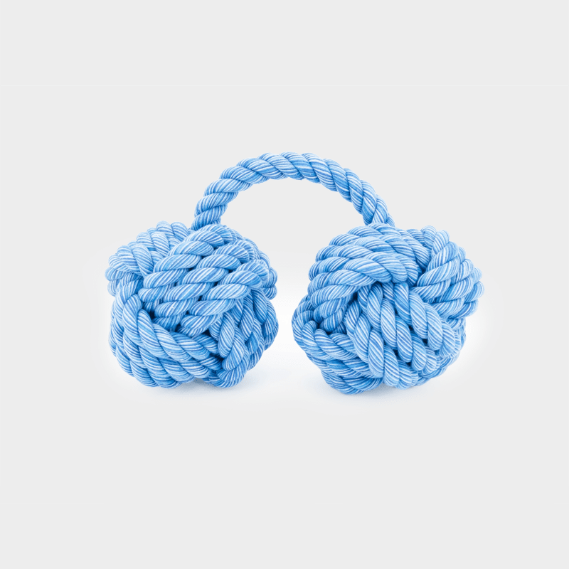 Hängendes blaues Nuts for Knots Kingsize Doppelball von Happy Pet