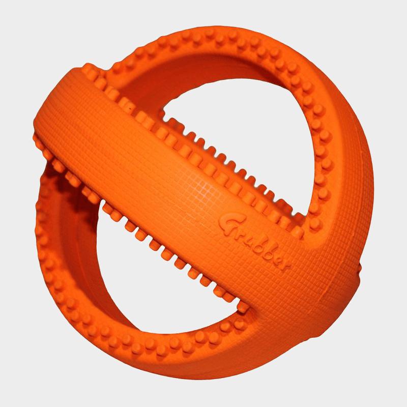 Oranger interaktiver Fußball Grubber von Happy Pet in den Maßen 18 x 18 x 18 cm