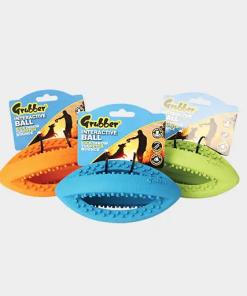 Interaktiver, kleiner Rugby-Ball Grubber mit den Maßen 19 x 9 x 9 cm von Happy Pet in den Farben orange, blau und grün
