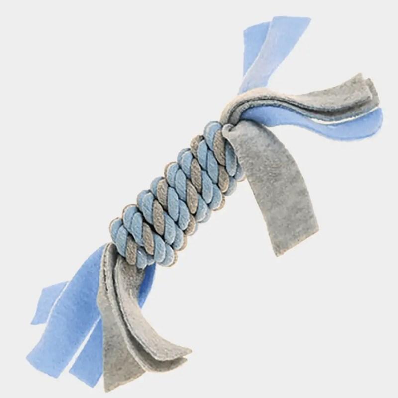 Blaues Fleece Seilspielzeug von Little Rascals von Happy Pet mit den Maßen 25 x 5 x 5 cm