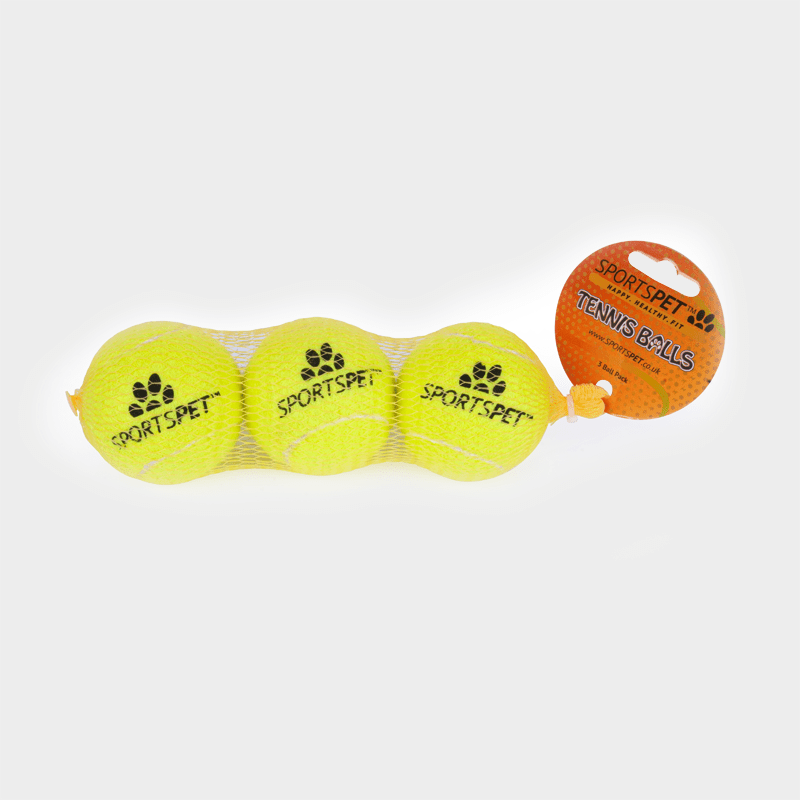 Balle de tennis Ø 65 mm sans sifflet de SPORTSPET 3-pack dans son emballage d'origine