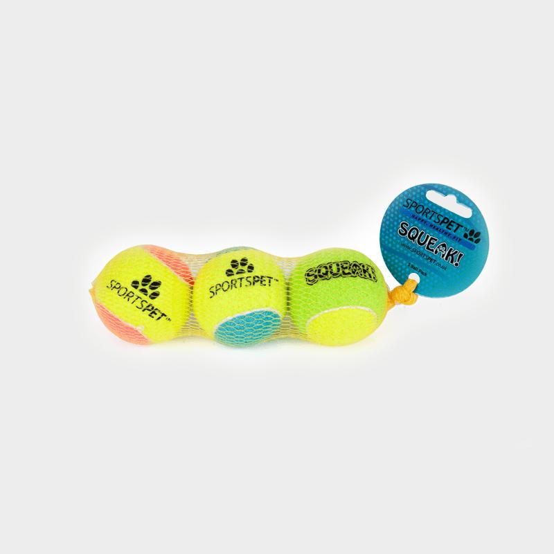 Tennisball 65 mm Ø mit Quietscher von SPORTSPET 3er Pack in Originalverpackung