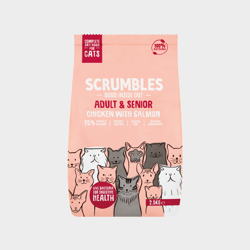 Complete food adults & seniors by Scrumbles for cats - Chicken with salmon 2.5 kg