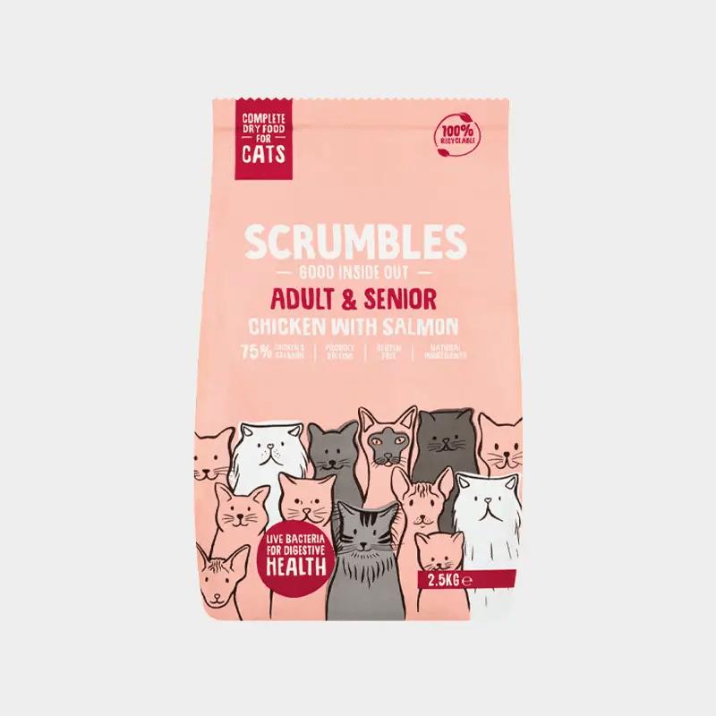 Alleinfutter Erwachsene & Senioren von Scrumbles für Katzen - Huhn und Lachs 2.5 kg