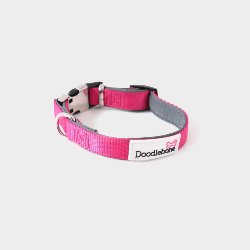 Neon-pinkes, gepolstertes Halsband Bold von Doodlebone®