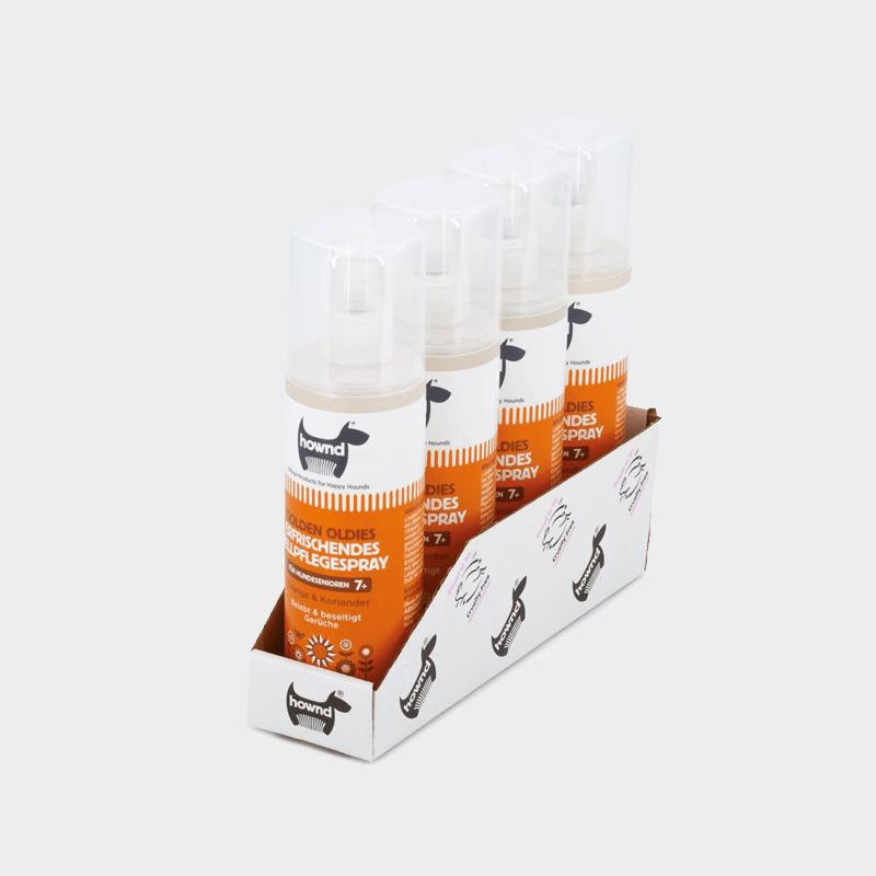 Tray 4 x 250 ml erfrischendes Fellpflegespray Golden Oldies von HOWND für Senioren