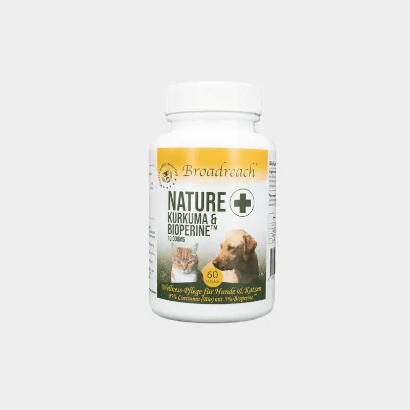 Dose NaturePlus Kurkuma & BioperineTM 10.000 mg Wellness-Pflege von Broadreach für Hunde und Katzen