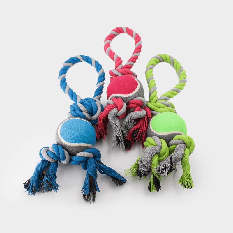 Alle 3 de kleuren van het Nuts for Knots speeltouw met tennisbal in maat L van Happy Pet