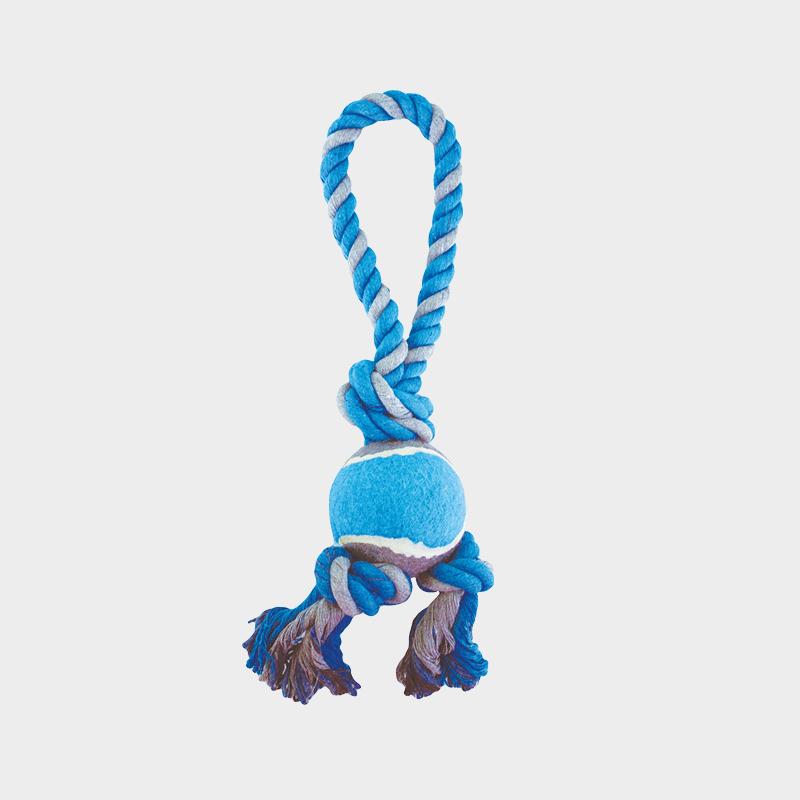 Blaues Spieltau mit Tennisball von Happy Pet