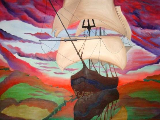 Sailing through glass original oil painting by Aalia Rahman