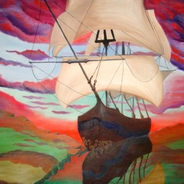 Sailing through glass original oil painting by Aalia Rahman
