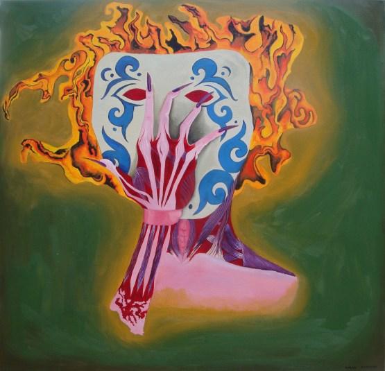 Masked oil painting by Aalia Rahman