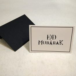 Eid Mubarak greeting card with black envelope