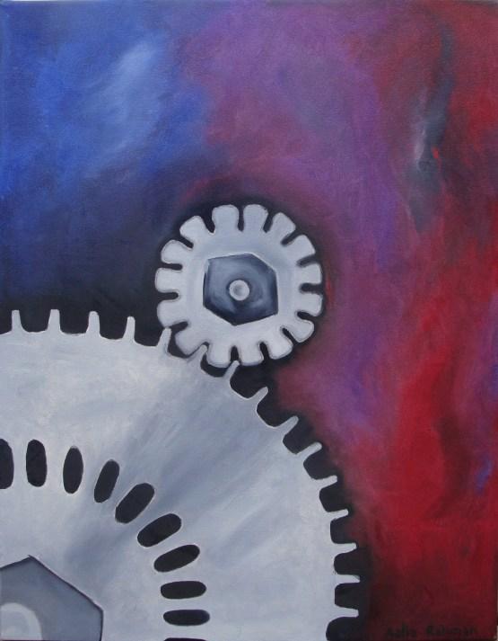 Mechanics of the Mind: Dream original oil surreal painting by Aalia Rahman