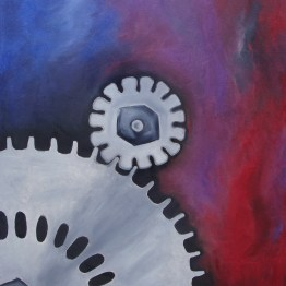 Mechanics of the Mind: Dream original oil surreal painting by Aalia Rahman