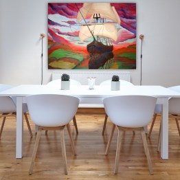 Sailing through glass, hung on dining room wall. Bold bright surreal painting by Aalia Rahman