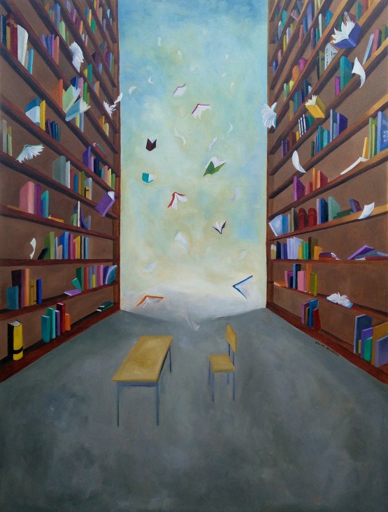 Future(less) original surreal oil painting for sale. Painting shows falling books from building sized bookshelves.