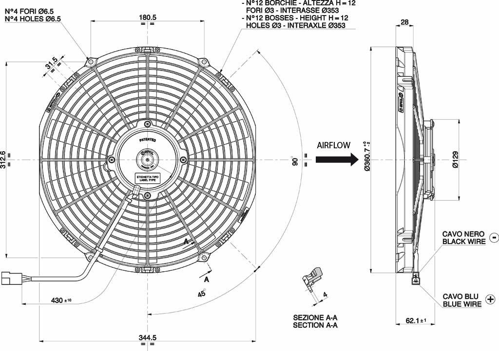 Spal Axial Fan, VA13-AP51/C-35A, 12v (Pull) 13
