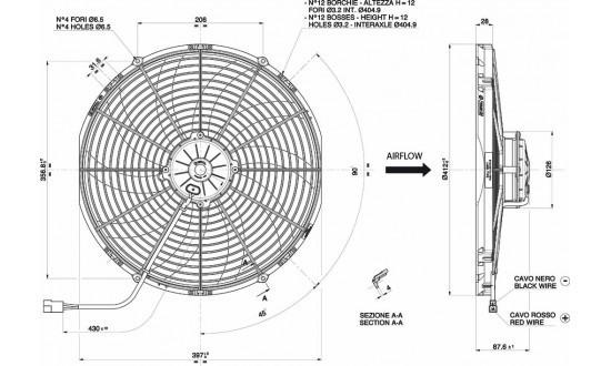 Spal Axial Fan, VA18-BP71/LL-59A, 24v (Pull) 16