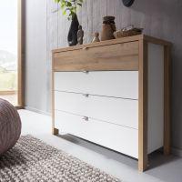 Nolte Möbel Cepina Kommode mit 4 Schubkästen Ausführung polarweiß mit Absetzungen in Planked Oak