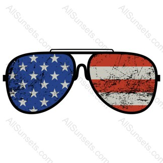 American Flag Distressed Sunglasses Vector