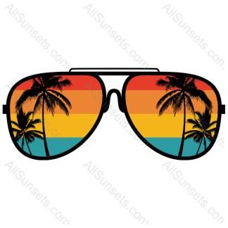 Beach Palm Tree Retro Sunset Sunglasses