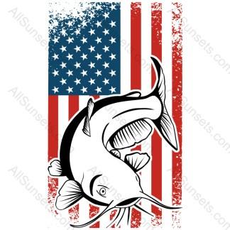 Catfish Fishing Vintage American Flag