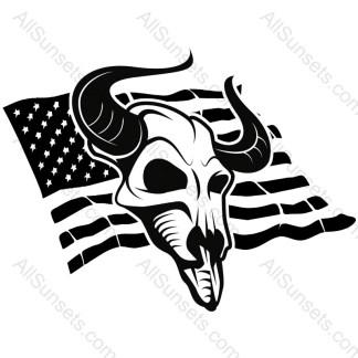 Cow Skull Single Color American Flag