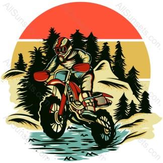 Dirt Bike Rider Retro Sunset