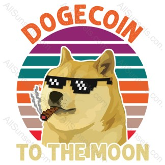 Dogecoin To The Moon T-shirt Design