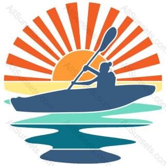 Female Canoeing Retro Sunset Rays