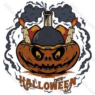 Halloween Pumpkin Candles Smoke T-shirt Design