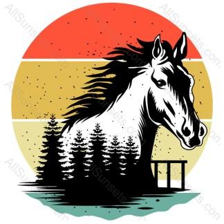 Horse Forest Scene Retro Sunset