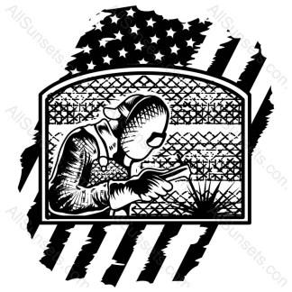 Man Welding American Flag Vector