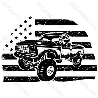 Pickup Truck Flag Vector