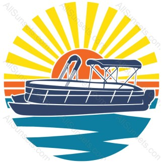 Pontoon Boat Retro Sunset