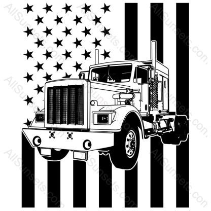 Semi Truck Vertical American Flag