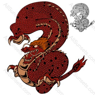 Red Chinese Dragon Creature Vector