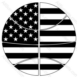 Basketball Shaped American Flag