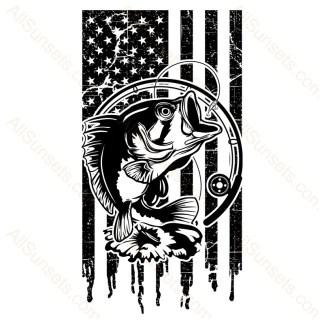 Bass Fishing Dripping American Flag