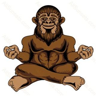 Bigfoot Meditating Color PNG