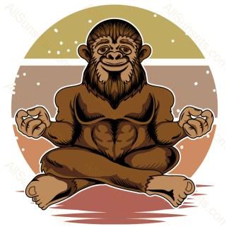 Bigfoot Meditating Retro Sunset