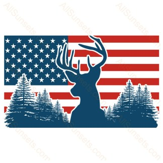 Buck Deer Head Forest American Flag