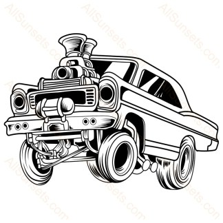 Cartoon Gasser Classic Car Vector