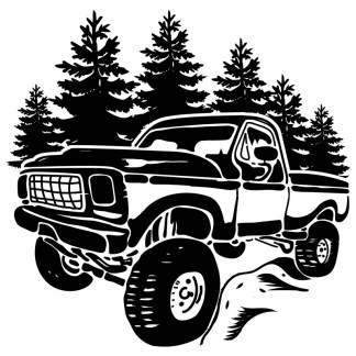 Classic Pickup Truck Forest Vector