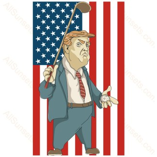 Donald Trump Golf Vertical American Flag