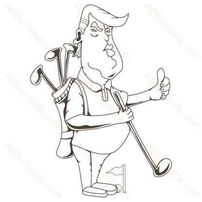 Donald Trump Playing Golf Vector