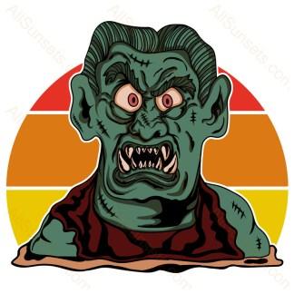 Halloween Monster Retro Sunset